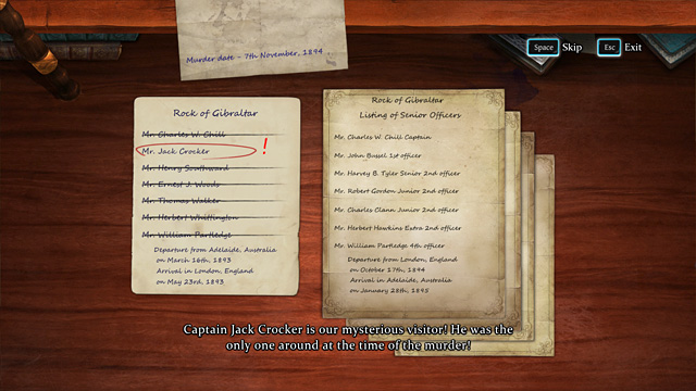 The result of the investigation. - Search for possible sailor suspects - The Abbey Grange Affair - Sherlock Holmes: Crimes and Punishments - Game Guide and Walkthrough