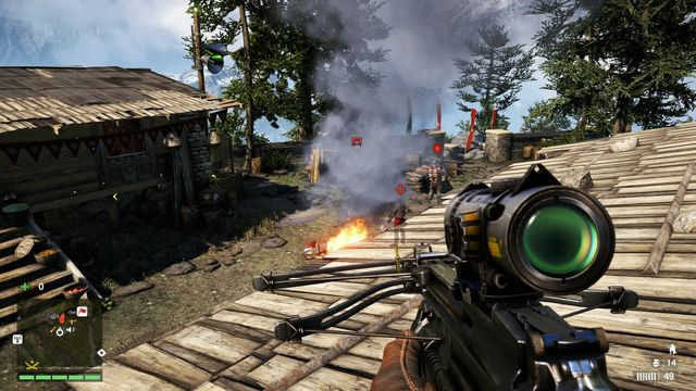 Set the bear free to distract the enemies. In the meantime, eliminate the sniper. - Bhirabata Outpost - Outposts - Two alarms - Far Cry 4 - Game Guide and Walkthrough