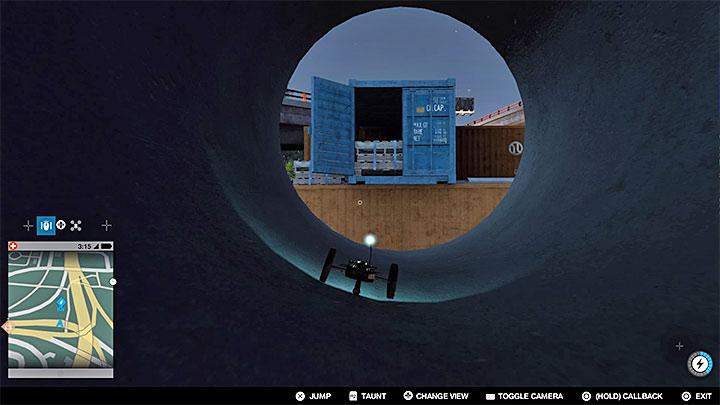 Проезжайте через трубу, когда окажетесь в указанном выше месте, сделайте еще один прыжок, чтобы добраться до контейнера с краской - Покрасочные работы, одежда и уникальные транспортные средства - Коллекционирование - Руководство по игре Watch Dogs 2