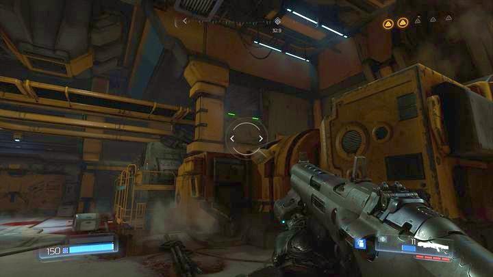 В той же комнате, в которой находилась батарея, вы должны заметить платформу, отмеченную зелеными огнями, возле одной из машин - Argent Facility |  Секреты - Секреты - Руководство по игре в Doom и прохождение