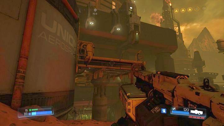Собрав второй предмет коллекционирования, вы можете вернуться к месту, где вы прыгнули между скал, и спуститься ниже - Argent Facility |  Секреты - Секреты - Руководство по игре в Doom и прохождение