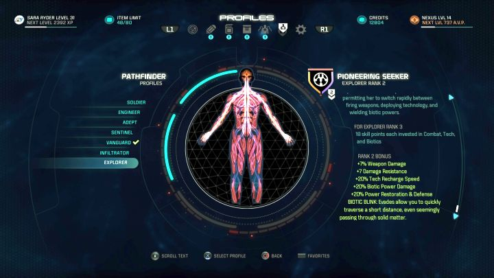 The Explorer profile on the Profile selection screen. - Explorer | Character profiles - Character profiles - Mass Effect: Andromeda Game Guide