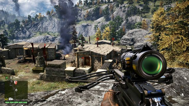 From the rock, you will have a good view on the front part of the camp. The most important thing is to eliminate the two snipers. - Pokhari Gara - Outposts - Two alarms - Far Cry 4 - Game Guide and Walkthrough