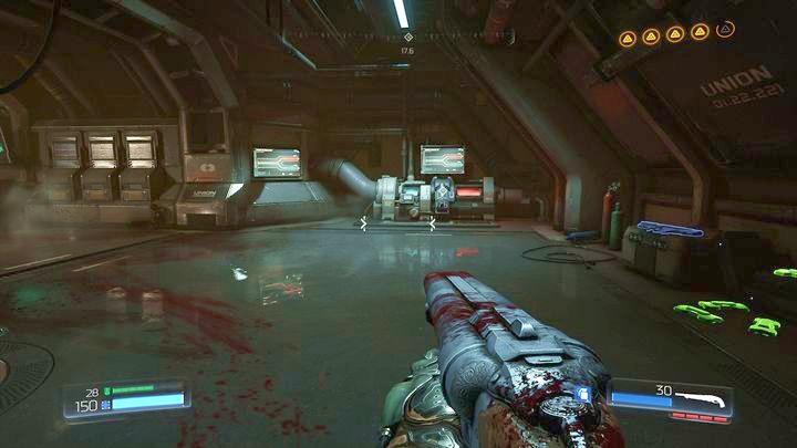 В комнате с синим светом и третьим фильтром вы найдете последний журнал данных - Argent Facility |  Секреты - Секреты - Руководство по игре в Doom и прохождение