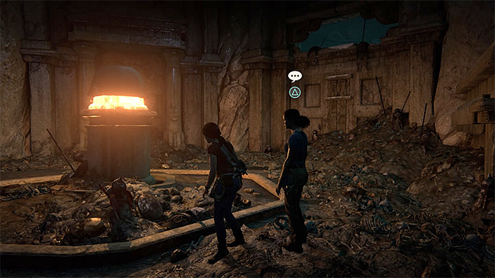 You can have this conversation after opening the door in the ruins, the ones with an unusual lock - 5 - The Great Battle - All secrets - Secrets - Uncharted: The Lost Legacy Game Guide