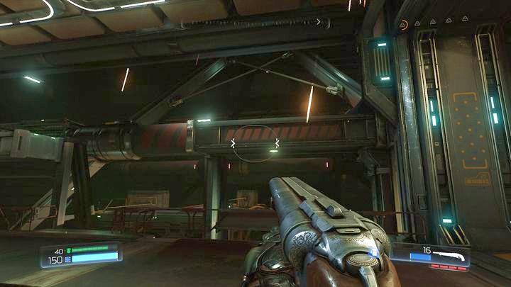 Вернитесь в большое хранилище после сбора прыжковых ботинок Delta V и поверните налево - Серебряная энергетическая башня |  Секреты - Секреты - Руководство по игре в Doom и прохождение