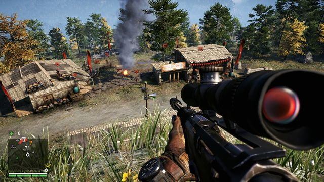 The enemies have no chance when you have a good sniping position. You can eliminate them quietly. - Royal Gurad Kennels - Outposts - Two alarms - Far Cry 4 - Game Guide and Walkthrough
