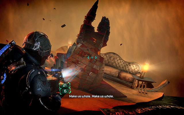 During the second visit in the imaginary world, all objectives are the same - Investigate Carvers vision   Co-op missions: Marker Containment - Co-op missions: Marker Containment - Dead Space 3 Game Guide