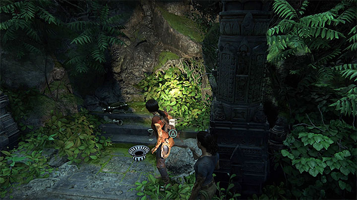 You will find the first treasure in this chapter soon after you have used the rotary mechanism in the ruins, where there has been a big battle and after you have taken the newly-unlocked passage into the underground - Secrets in The Gatekeeper chapter | Secrets - Secrets - Uncharted: The Lost Legacy Game Guide