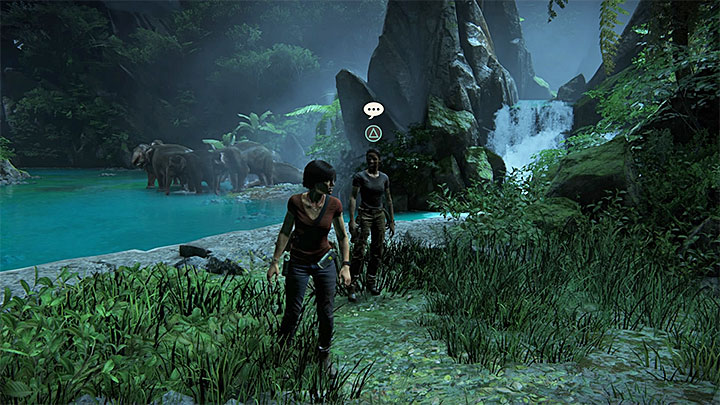 The conversation with Nadine takes place inside the large cave with elephants - Secrets in The Gatekeeper chapter | Secrets - Secrets - Uncharted: The Lost Legacy Game Guide