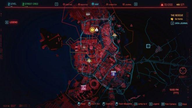 Карта Найт-Сити в Cyberpunk 2077